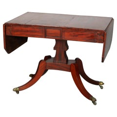 Antique English George III Mahogany Drop-Leaf Table, circa 1800