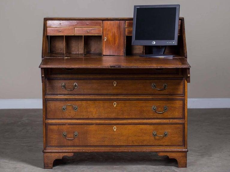 Antique Drop Front Secretary Desk >> Antique English George Iii Oak Drop Front Secretary Bureau Chest Desk