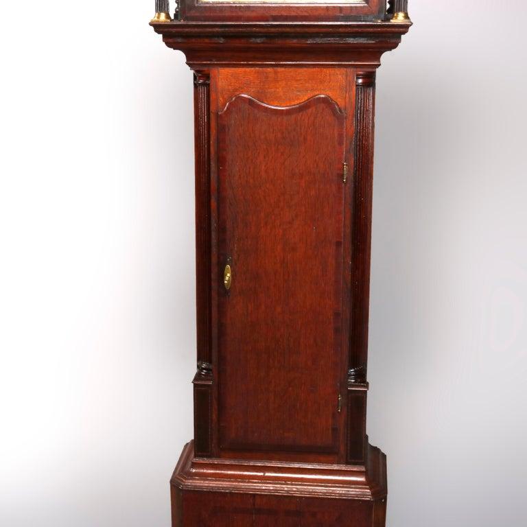 Antique English George III Oak Tall Case Clock Sam Ashton, Bredbury 18th Century For Sale 8