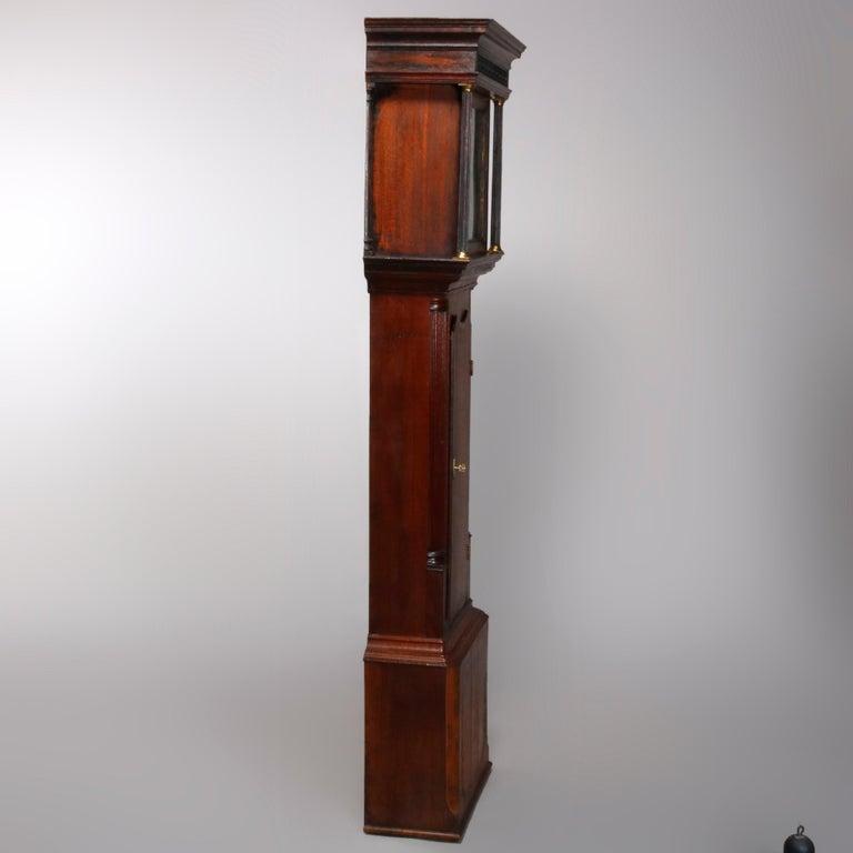 Antique English George III Oak Tall Case Clock Sam Ashton, Bredbury 18th Century For Sale 11