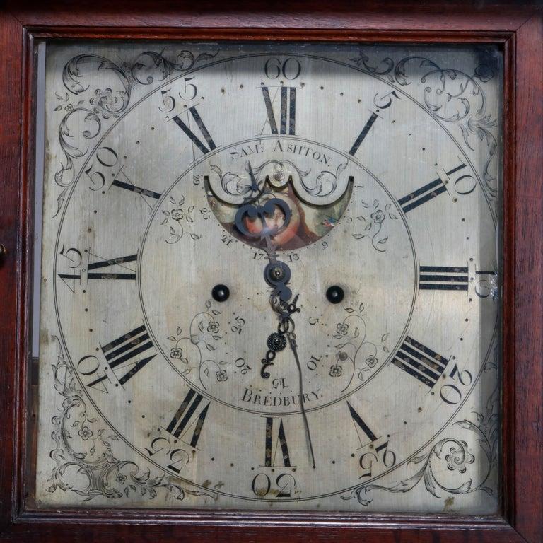 Antique English George III Oak Tall Case Clock Sam Ashton, Bredbury 18th Century In Good Condition For Sale In Big Flats, NY