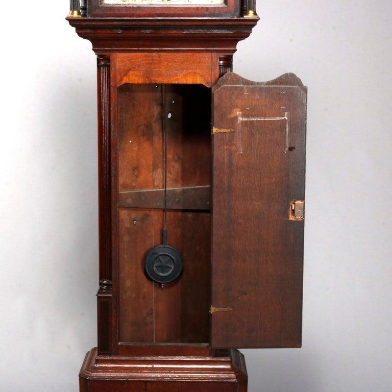 18th Century and Earlier Antique English George III Oak Tall Case Clock Sam Ashton, Bredbury 18th Century For Sale