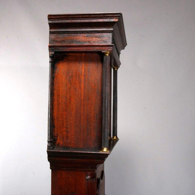 Antique English George III Oak Tall Case Clock Sam Ashton, Bredbury 18th Century For Sale 1