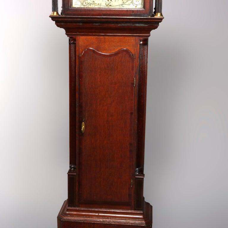 Antique English George III Oak Tall Case Clock Sam Ashton, Bredbury 18th Century For Sale 2
