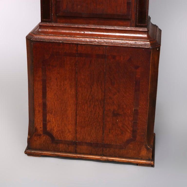 Antique English George III Oak Tall Case Clock Sam Ashton, Bredbury 18th Century For Sale 3