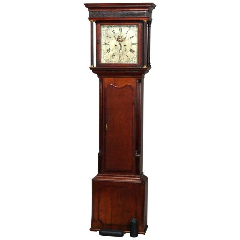 Antique English George III Oak Tall Case Clock Sam Ashton, Bredbury 18th Century For Sale