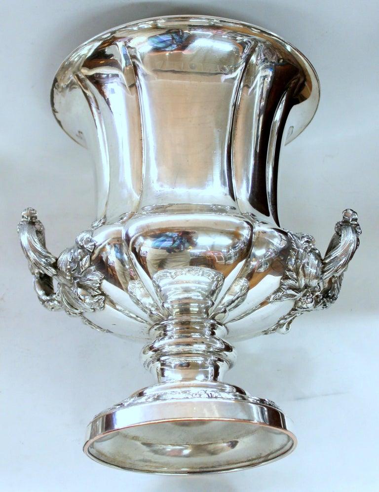 Antique English George III Sheffield Plate Campana Shape Wine Cooler For Sale 4