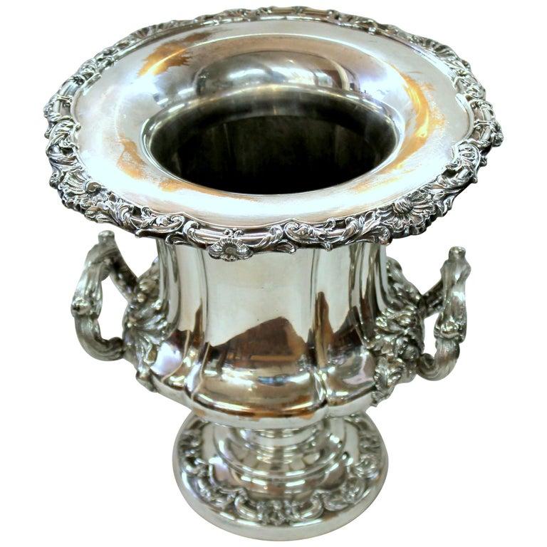 Antique English George III Sheffield Plate Campana Shape Wine Cooler For Sale