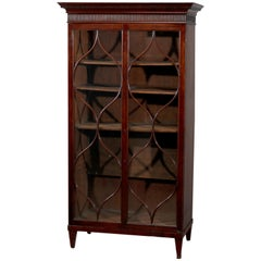 Antique English Georgian Double Mullioned Door Mahogany Bookcase, circa 1810