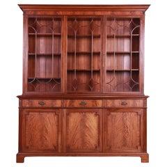 Antique English Georgian Flame Mahogany Breakfront Bookcase Cabinet, Circa 1890