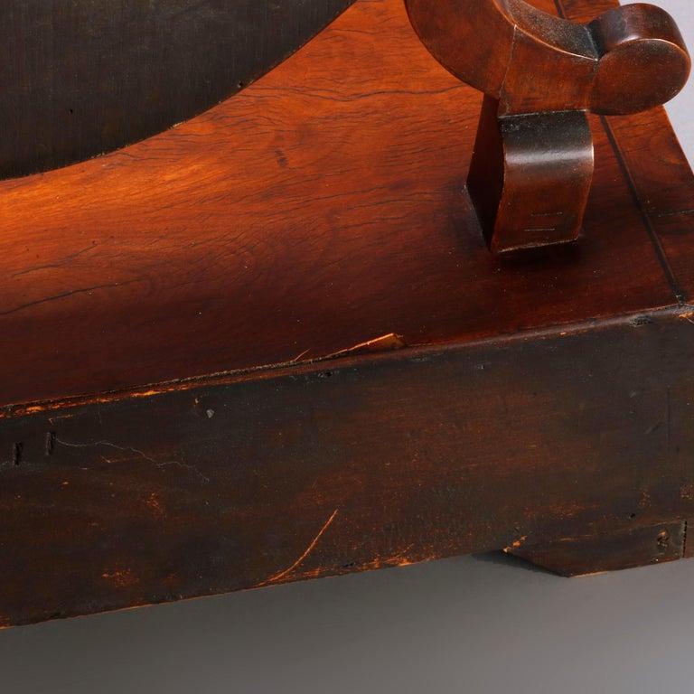 Antique English Georgian Flame Mahogany Shield Form Shaving Mirror, circa 1810 For Sale 2