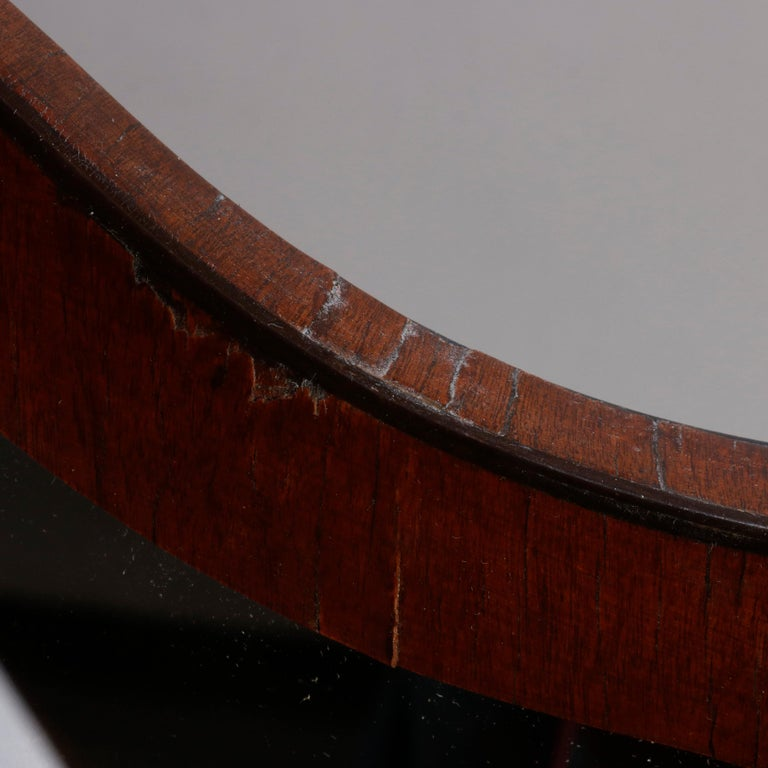 Antique English Georgian Flame Mahogany Shield Form Shaving Mirror, circa 1810 For Sale 3