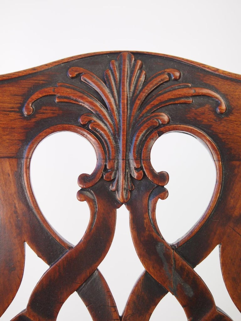 19th Century English Georgian Mahogany Chippendale Chair, circa 1780 Dining Desk Chair For Sale