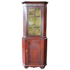 Antique English Georgian Mahogany Corner Cabinet Cupboard Curio Fretwork