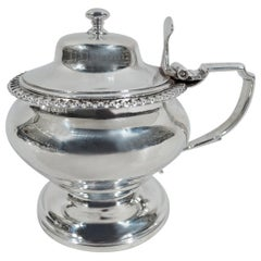 Antique English Georgian Neoclassical Sterling Silver Mustard Pot