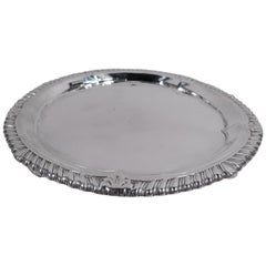 Antique English Georgian Neoclassical Sterling Silver Salver Tray
