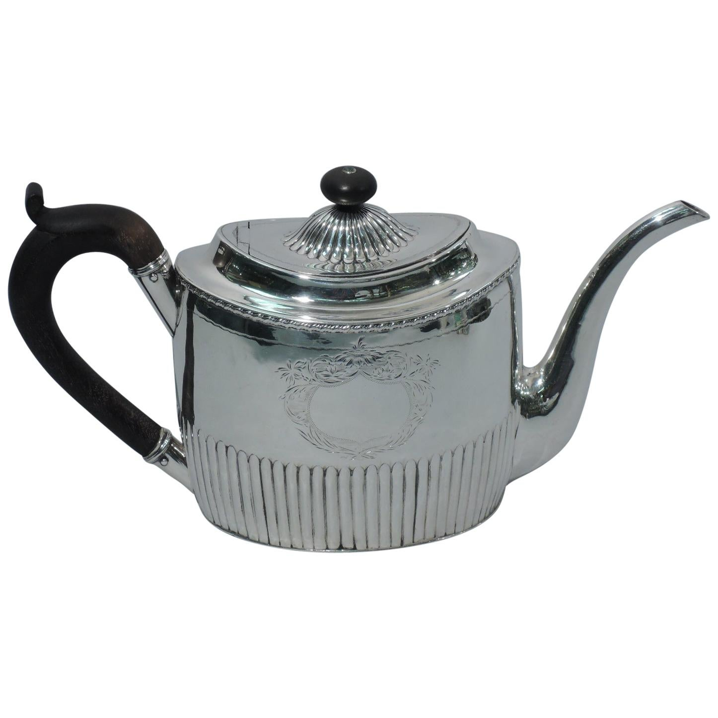 Antique English Georgian Neoclassical Sterling Silver Teapot