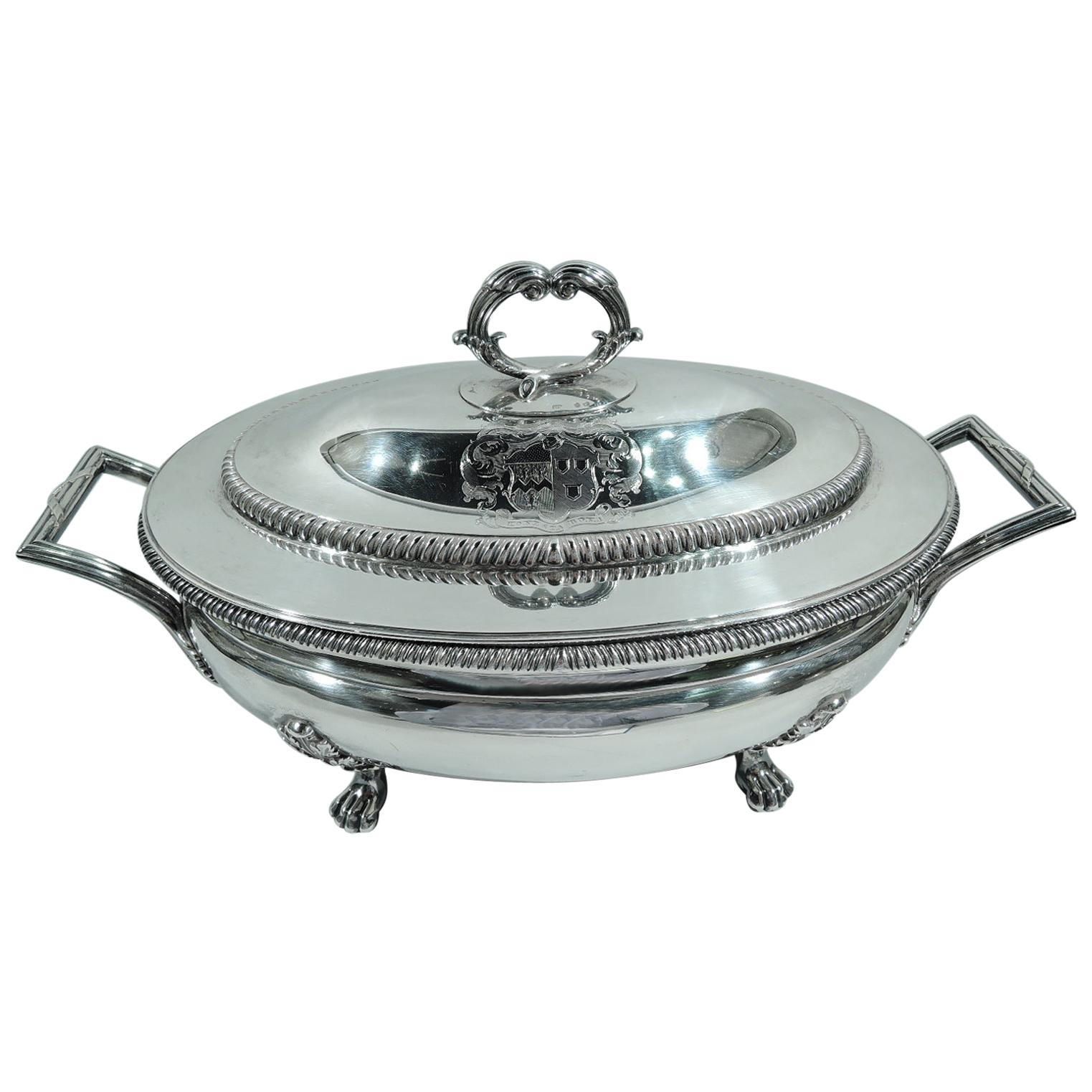 Antique English Georgian Neoclassical Sterling Silver Tureen