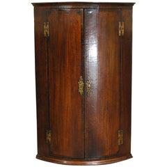 Antique English Georgian Oak Hanging Bowfront Corner Cabinet