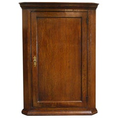 Antique English Georgian Oak Hanging Kitchen Corner Cupboard