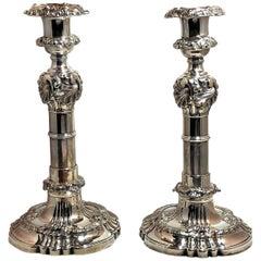Antique English Georgian Silver-Plated Telescopic Candlesticks, circa 1810, Pair
