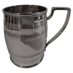 Antique English Georgian Sterling Silver Barrel Baby Cup by Hennell