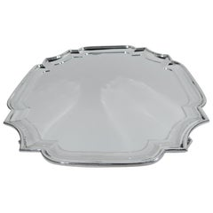 Antique English Georgian Sterling Silver Cartouche Salver Tray