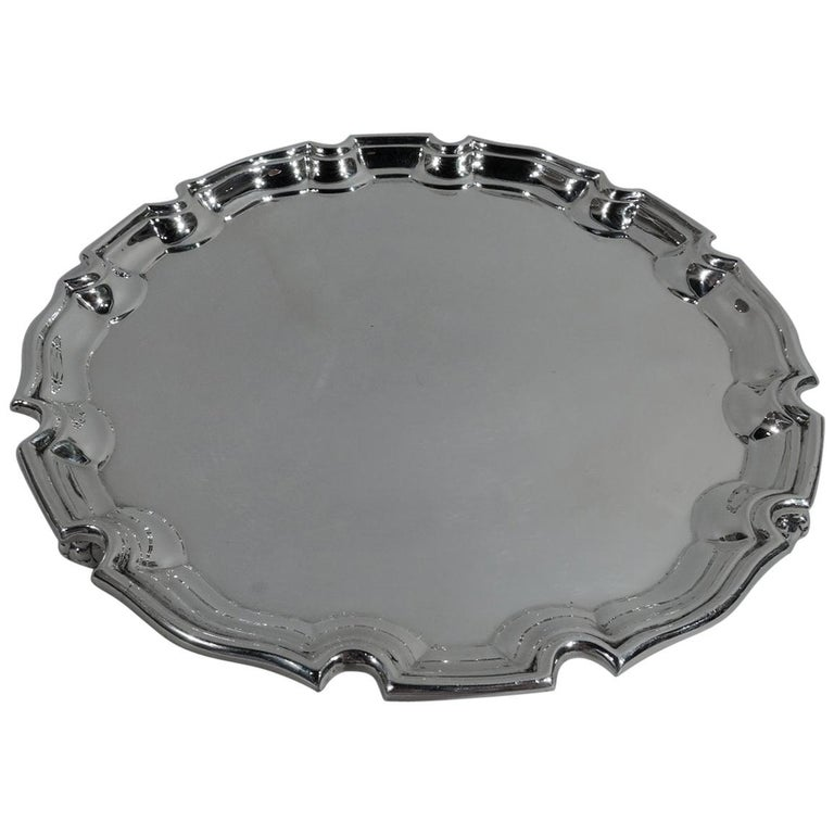 Antique English Georgian Sterling Silver Piecrust Salver Tray For Sale