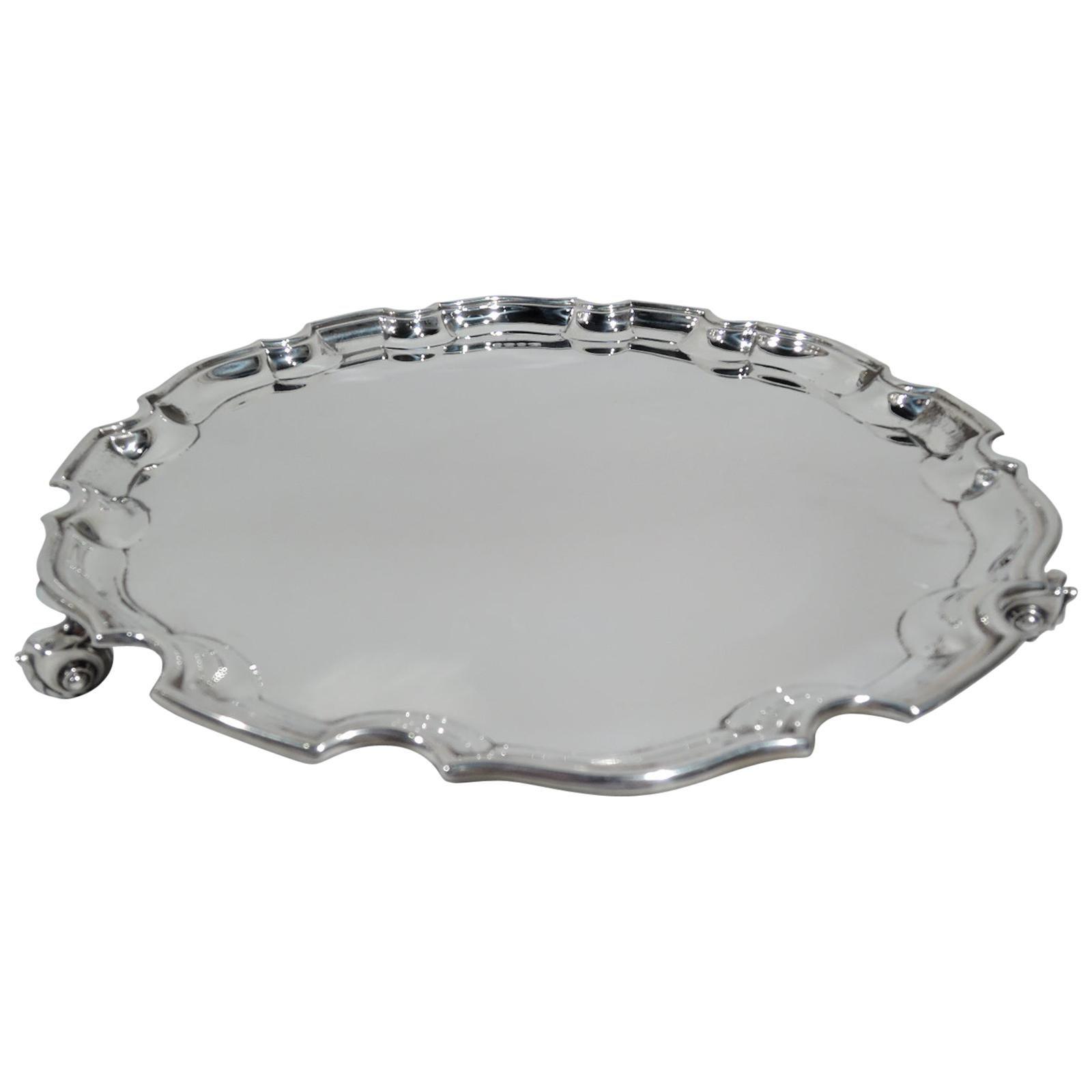 Antique English Georgian Sterling Silver Piecrust Salver Tray