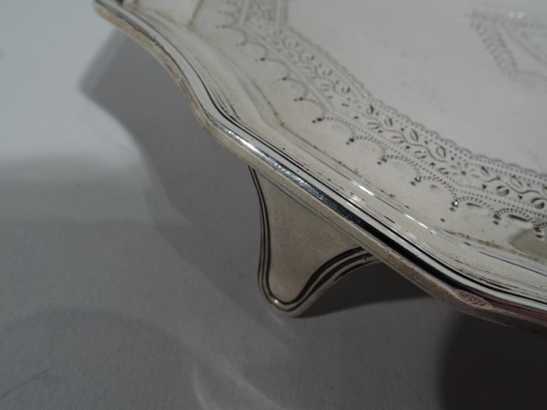 Early 20th Century Antique English Georgian Sterling Silver Small Cartouche Salver Tray For Sale