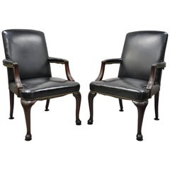 Antique English Georgian Style Dark Green Leather Library Office Chairs, a Pair