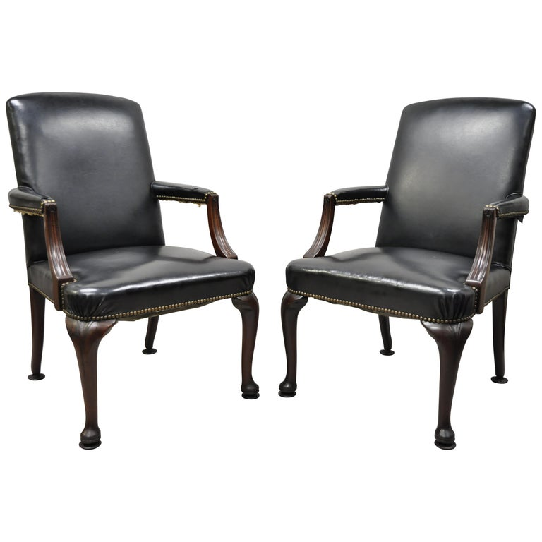 Antique English Georgian Style Dark Green Leather Library Office Chairs, a Pair For Sale