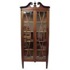 Antique English Georgian Style Mahogany Corner China Cabinet Display Case Curio