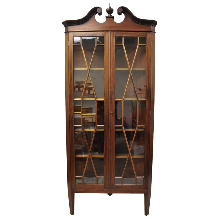 Antique English Georgian Style Mahogany Corner China Cabinet Display Case Curio For Sale