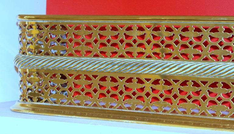 19th Century Antique English Georgian Style Pierced Brass Fireplace Fender with Rope Motif For Sale