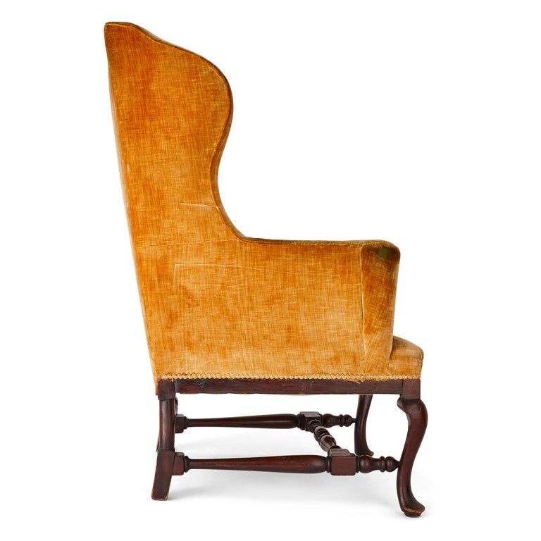 19th Century Antique English Georgian Wingback Chair For Sale