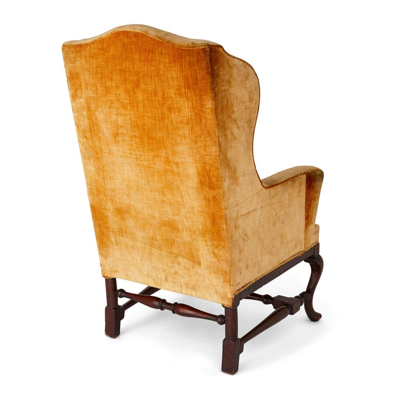 Upholstery Antique English Georgian Wingback Chair For Sale