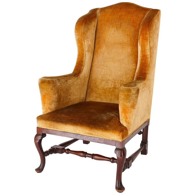 Antique English Georgian Wingback Chair For Sale