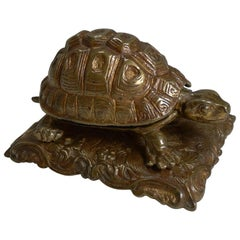 Antique English Gilded Novelty/Figural Inkwell, circa 1880 Tortoise or Turtle