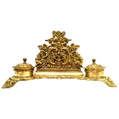 Antique English Gilt Gold Brass Letter Holder and Double Inkwell Desk Set