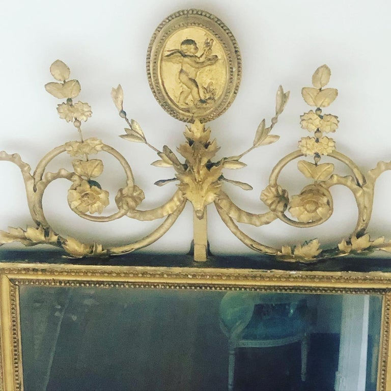 Adam Style Antique English Giltwood Pier Mirror For Sale