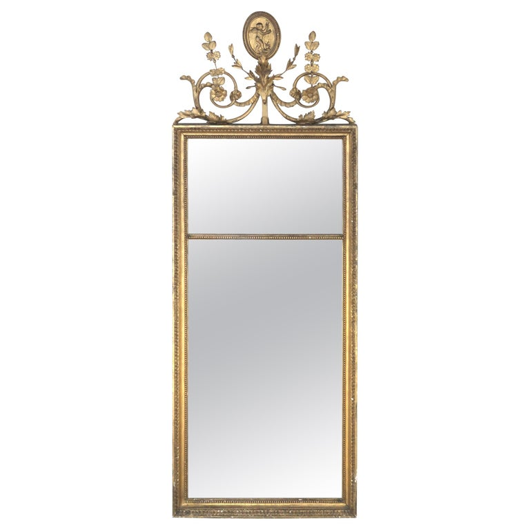 Antique English Giltwood Pier Mirror For Sale