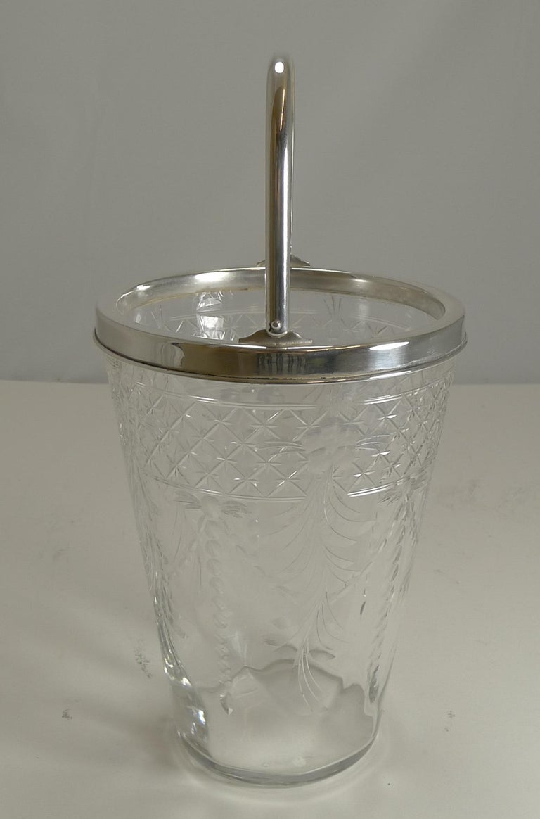 Edwardian Antique English Glass and Silver Plate Ice Bucket For Sale