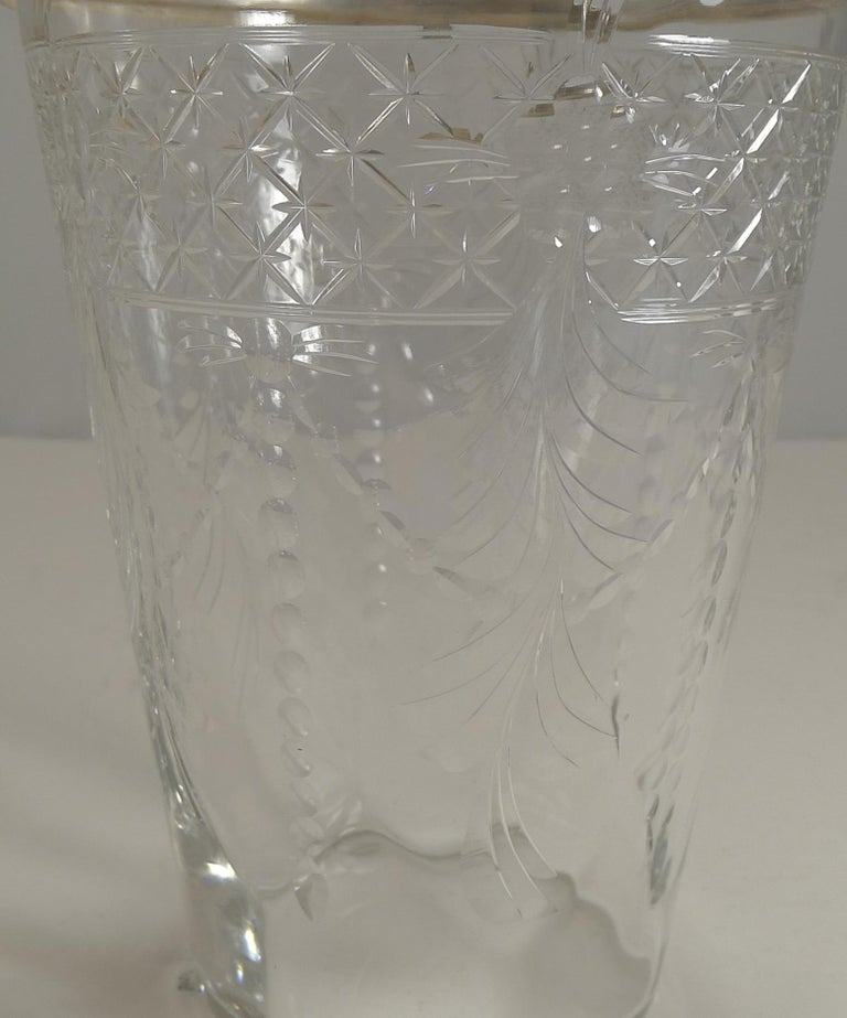 Antique English Glass and Silver Plate Ice Bucket In Good Condition For Sale In London, GB