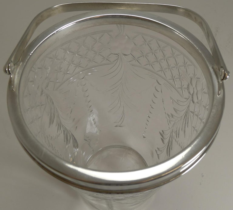 Antique English Glass and Silver Plate Ice Bucket For Sale 1