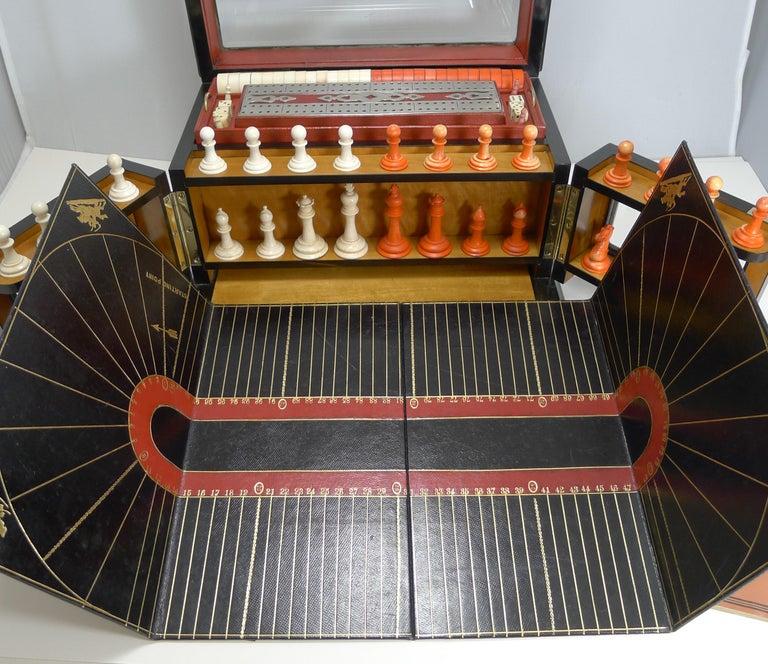Antique English Glass Coromandel and Games Compendium / Box, circa 1880 For Sale 5