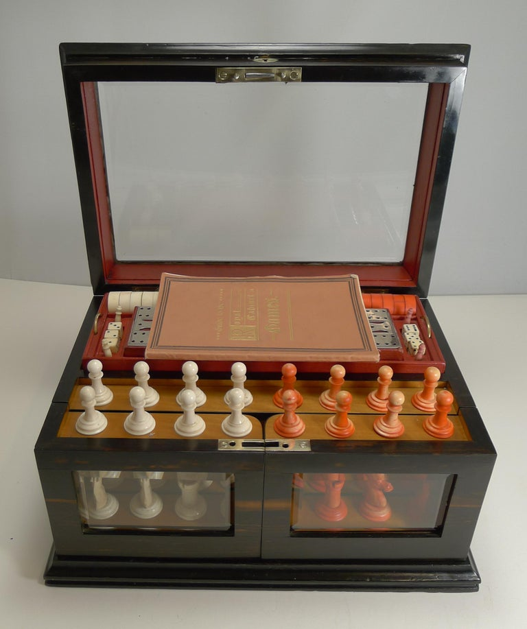 Antique English Glass Coromandel and Games Compendium / Box, circa 1880 For Sale 8
