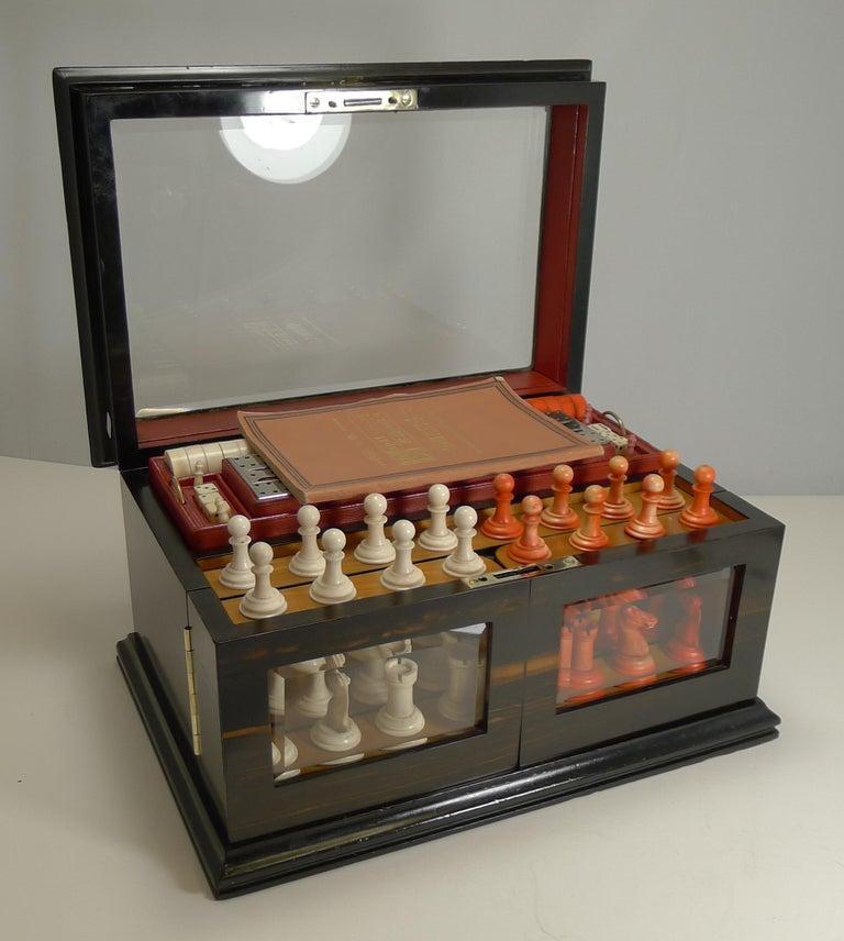 Antique English Glass Coromandel and Games Compendium / Box, circa 1880 For Sale 9