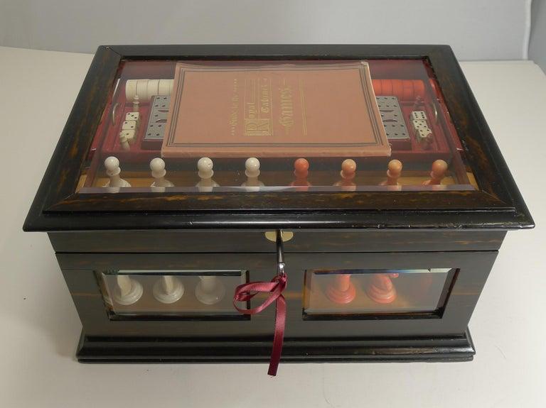 Antique English Glass Coromandel and Games Compendium / Box, circa 1880 For Sale 10