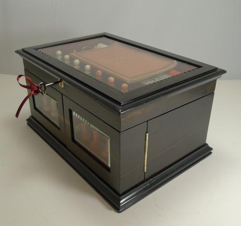 Antique English Glass Coromandel and Games Compendium / Box, circa 1880 For Sale 11